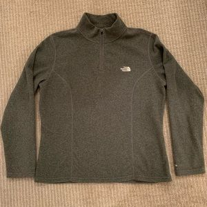 North Face grey 1/4 zip fleece pullover